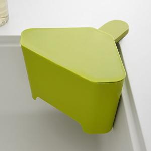 浮かせる フタ付き三角コーナー アクア グリーン 緑 キッチン ゴミ箱|grooveplan