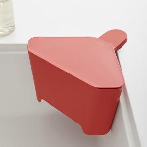浮かせる フタ付き三角コーナー アクア レッド 赤 キッチン ゴミ箱|grooveplan