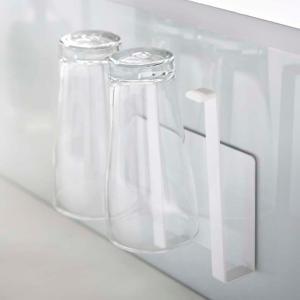 マグネットグラス&ボトルホルダー タワー tower ホワイト マグネット 磁石 水切り グラス ペットボトル 乾燥 シンク キッチン収納|grooveplan
