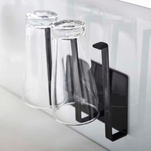 マグネットグラス&ボトルホルダー タワー tower ブラック マグネット 磁石 水切り グラス ペットボトル 乾燥 シンク キッチン収納|grooveplan