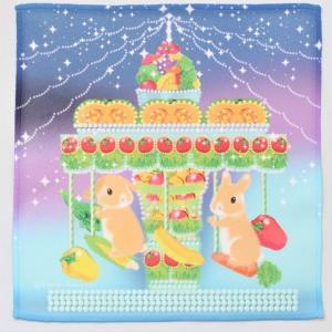 うさぎ ハンカチ ミニ メリーゴーランド かわいい 小林裕美子 うさぎ雑貨 日本製 yumiko kobayashi|grooveplan