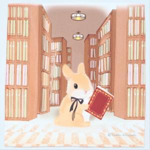 うさぎ ハンカチ ミニ 本棚 かわいい 小林裕美子 うさぎ雑貨 日本製 yumiko kobayashi|grooveplan