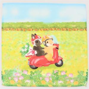 うさぎ ハンカチ ミニ 花畑バイク かわいい 小林裕美子 うさぎ雑貨 日本製 yumiko kobayashi|grooveplan