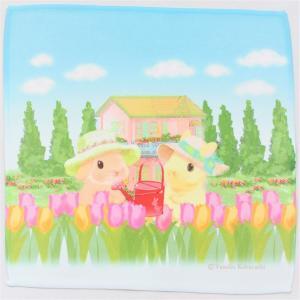 うさぎ ハンカチ ミニ チューリップ かわいい 小林裕美子 うさぎ雑貨 日本製 yumiko kobayashi|grooveplan