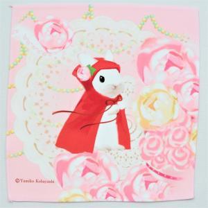 うさぎ ハンカチ ミニ ピンクのバラ 赤ずきん かわいい 小林裕美子 うさぎ雑貨 日本製 yumiko kobayashi|grooveplan
