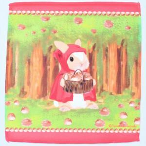 うさぎ ハンカチ ミニ 栗林 赤ずきん かわいい 小林裕美子 うさぎ雑貨 日本製 yumiko kobayashi|grooveplan