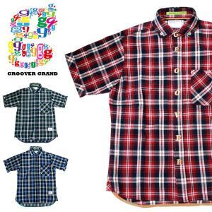 セール シャツ メンズ 半袖 チェック柄 おしゃれ ロゴ ブランド ストリート系 ファッション ダンス 衣装 B系 XL|groover-grand