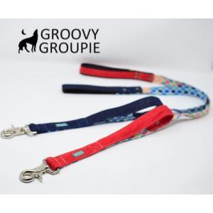 大型犬用 サイドグリップ付きリード 和柄 青海波&デニム 綿 <br>|groovygroupie