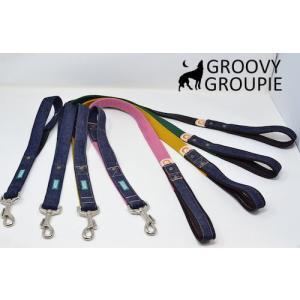 大型犬用 サイドグリップ付きリード ツイルとデニム 綿 <br>|groovygroupie