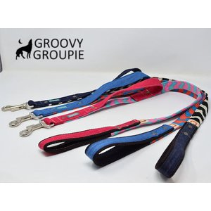 大型犬用 サイドグリップ付きリード ロリポップウェーブ とデニム 綿 <br>|groovygroupie