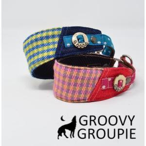 チワワなど超小型犬に!ソフトクッション付きで優しい! アクリルミックスギンガムチェック ハーフチョーク|groovygroupie