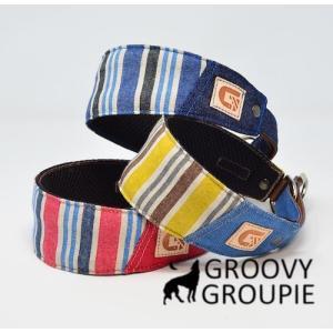 ビンテージ風ストライプ!ハーフチョーク【中型犬用】サルーキー、ウィペットにぴったり! |groovygroupie