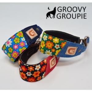 チワワなど超小型犬に!ソフトクッション付きで優しい! レトロ風花柄 ハーフチョーク|groovygroupie