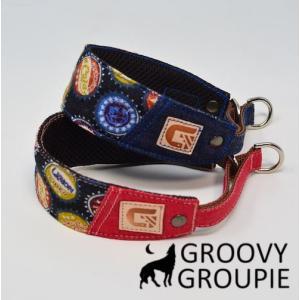 チワワなど超小型犬に!ソフトクッション付きで優しい! ボトルキャップ柄 ハーフチョーク|groovygroupie