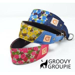 ハーフチョーク【小型犬用】ミニピン・イタグレにぴったり!迷彩風花柄&デニム|groovygroupie