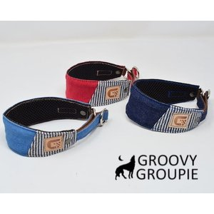 チワワなど超小型犬に!ソフトクッション付きで優しい! デニム&ヒッコリー ハーフチョーク|groovygroupie