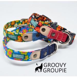 小型犬用【Sサイズ】首輪 レトロ風花柄&デニム&レザー|groovygroupie