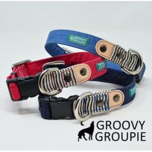 中型犬用【Mサイズ】首輪 デニム&レザー groovygroupie
