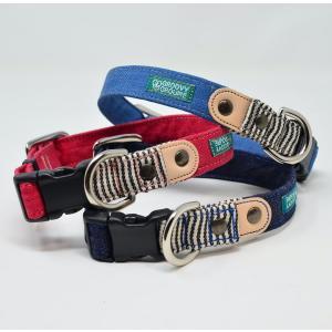 小型犬用【Sサイズ】首輪 デニム&ヒッコリー、レザー groovygroupie