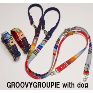 犬  中型犬用 首輪とリードセット マルチストライプ&デニム+レザー  セットでお得|groovygroupie