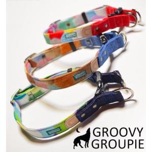 犬用 首輪 大型犬用  Lサイズ  カラフルbonbonプリント、デニム&レザー ダブルDカン|groovygroupie