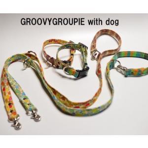 小型犬用 首輪とリードセット Sサイズ  きのこプリント&チェック セットでお得 |groovygroupie