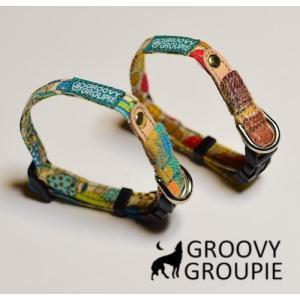 超小型犬用 首輪 きのこププリントとチェック&レザー|groovygroupie