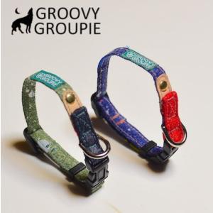 超小型犬用 首輪 ドロップペイントとデニム&レザー|groovygroupie
