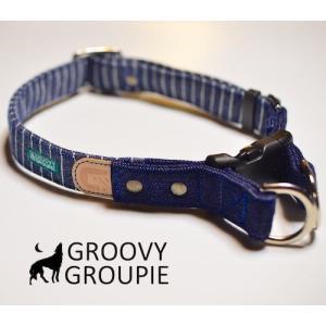 犬用 首輪 大型犬用  Lサイズ  濃紺ヒッコリー、デニム&レザー ダブルDカン|groovygroupie