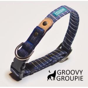 首輪 中型犬用 Mサイズ  濃紺ヒッコリー&デニム+レザー|groovygroupie