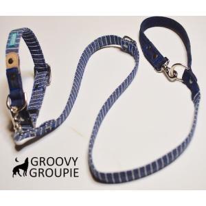 中型犬用 首輪とリードセット 濃紺ヒッコリー&デニム+レザー セットでお得|groovygroupie