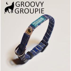 超小型犬用 首輪 濃紺ヒッコリー、デニム&レザー|groovygroupie