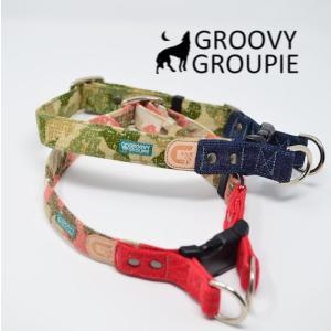 犬用 首輪 大型犬用  Lサイズ  迷彩、デニム&レザー ダブルDカン|groovygroupie