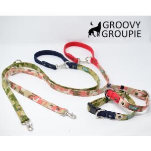 中型犬用 首輪とリードセット 迷彩&デニム+レザー セットでお得|groovygroupie