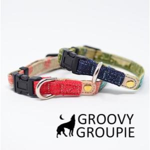 超小型犬用 首輪 迷彩とデニム&レザー|groovygroupie
