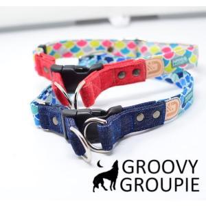 犬用 首輪 大型犬用  Lサイズ  和柄 青海波、デニム&レザー ダブルDカン|groovygroupie
