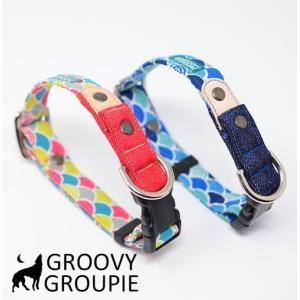 首輪 中型犬用 Mサイズ  和柄 青海波&デニム+レザー|groovygroupie
