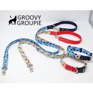 中型犬用 首輪とリードセット 青海波&デニム+レザー セットでお得|groovygroupie