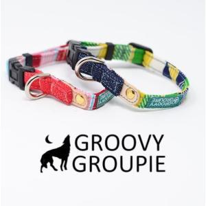 超小型犬用 首輪 ストライプとデニム&レザー|groovygroupie