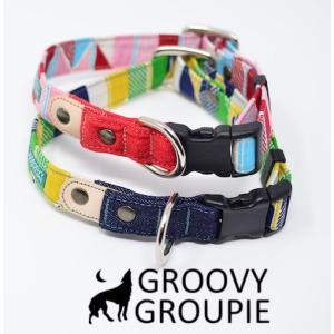 首輪 中型犬用 Mサイズ  ストライプ&デニム+レザー|groovygroupie