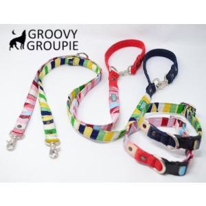 中型犬用 首輪とリードセット ストライプ&デニム+レザー セットでお得|groovygroupie