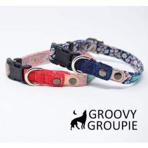 首輪 中型犬用 Mサイズ  小花柄&デニム+レザー|groovygroupie