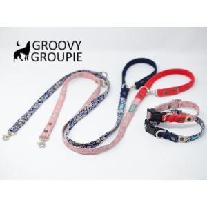 中型犬用 首輪とリードセット 小花柄&デニム+レザー セットでお得|groovygroupie