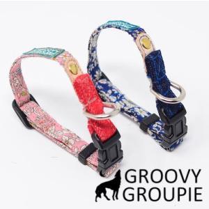 超小型犬用 首輪  小花柄とデニム&レザー|groovygroupie
