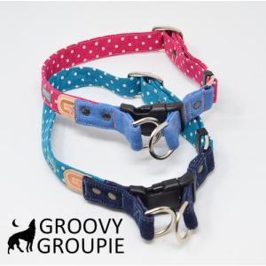 犬用 首輪 大型犬用  Lサイズ 水玉、ドット柄&デニム レザー ダブルDカン|groovygroupie