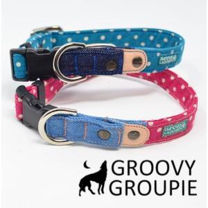 首輪 中型犬用 Mサイズ  水玉、ドット柄&デニム+レザー|groovygroupie