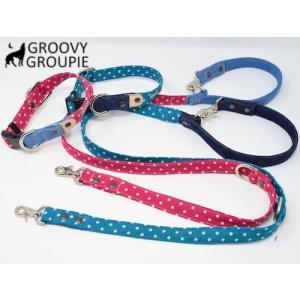 中型犬用 首輪とリードセット 水玉ドット&デニム+レザー セットでお得|groovygroupie