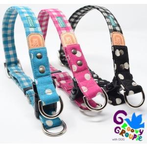 犬用 首輪 大型犬用  Lサイズ ギンガムチェック、水玉、ドット柄&レザー ダブルDカン|groovygroupie