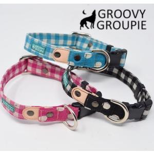首輪 中型犬用 Mサイズ  ギンガムチェック & 水玉、ドット柄 +レザー|groovygroupie