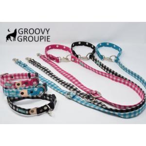 中型犬用 首輪とリードセット ギンガムチェック  & 水玉ドット +レザー セットでお得|groovygroupie
